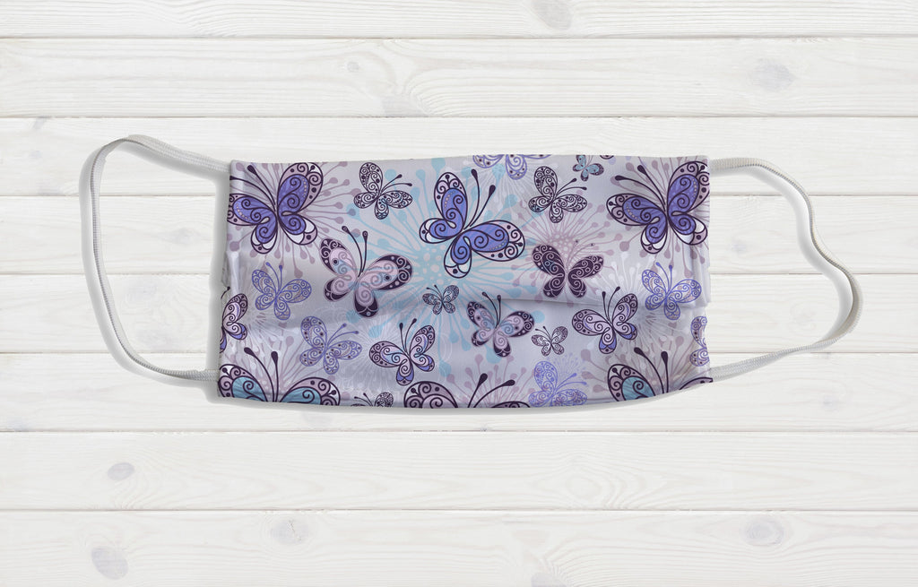 Purple Butterflies Face Mask - Potter's Printing