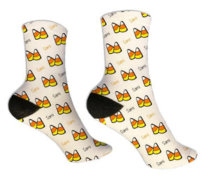 Candy Corn Personalized Halloween Socks - Potter's Printing