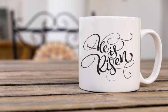 He Is Risen Easter Coffee Mug - Potter's Printing