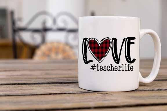 Love Teacher Life Coffee Mug - Potter's Printing