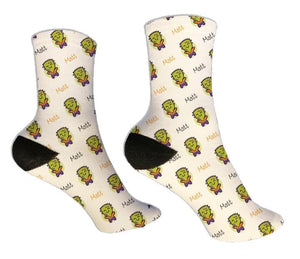 Cute Frankenstein Personalized Halloween Socks - Potter's Printing