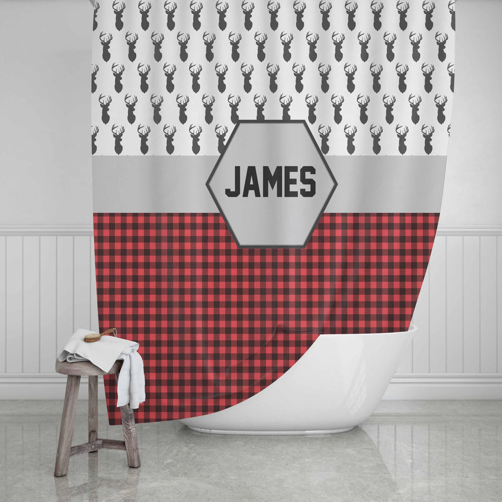 Buffalo Plaid Deer Shower Curtain - Potter's Printing