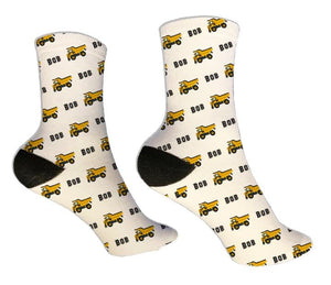 Dump Truck Personalized Socks - Potter's Printing