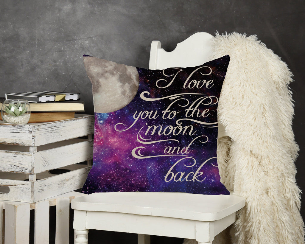 Love you to the Moon and Back Throw Pillow - Potter's Printing