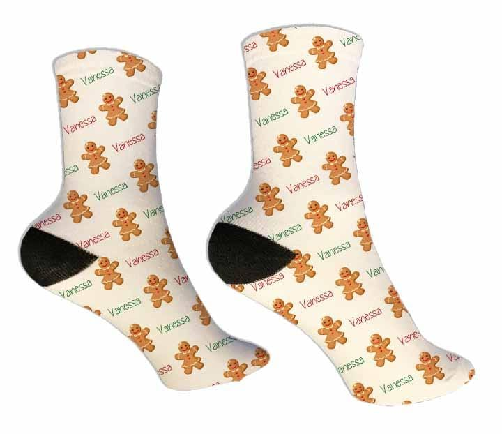 Gingerbread Girl Personalized Christmas Socks - Potter's Printing