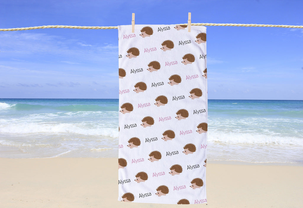 Hedgehog Personalized Beach Towel - Potter's Printing