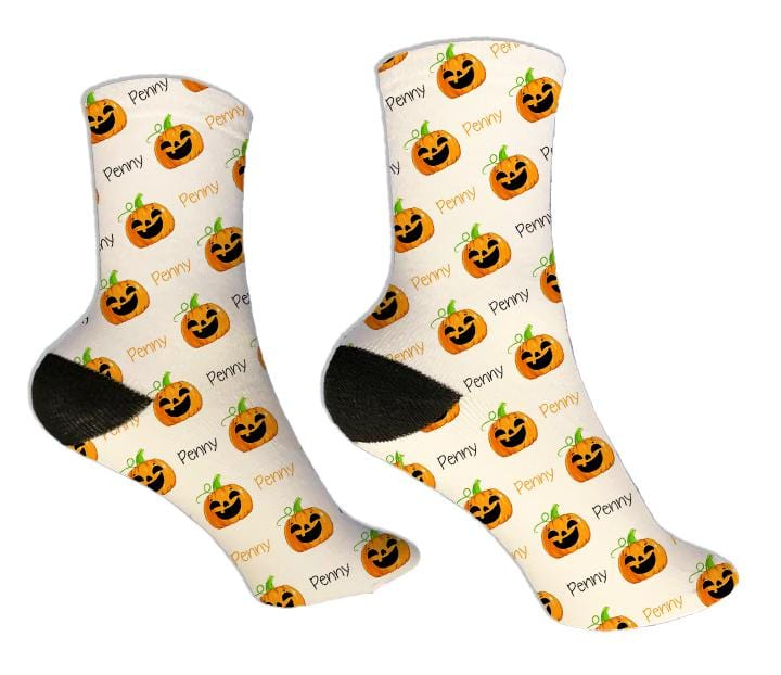 Jack-O-Lantern Personalized Halloween Socks - Potter's Printing