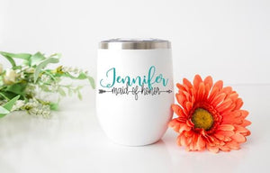 Maid of Honor Personalized Wine Tumbler - Potter's Printing