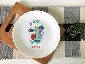 1st Birthday Monster Ceramic Plate - Potter's Printing
