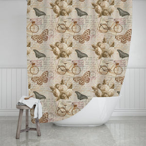 Vintage Butterflies Shower Curtain - Potter's Printing