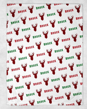 Buffalo Plaid Deer Personalized Blanket - Potter's Printing