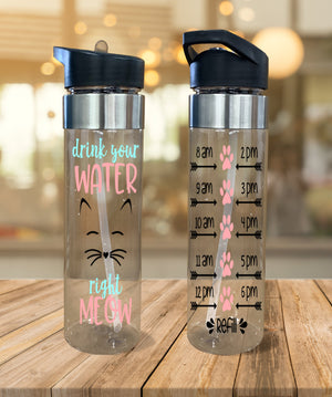Water Bottle Drink Your Water Right Meow - Potter's Printing