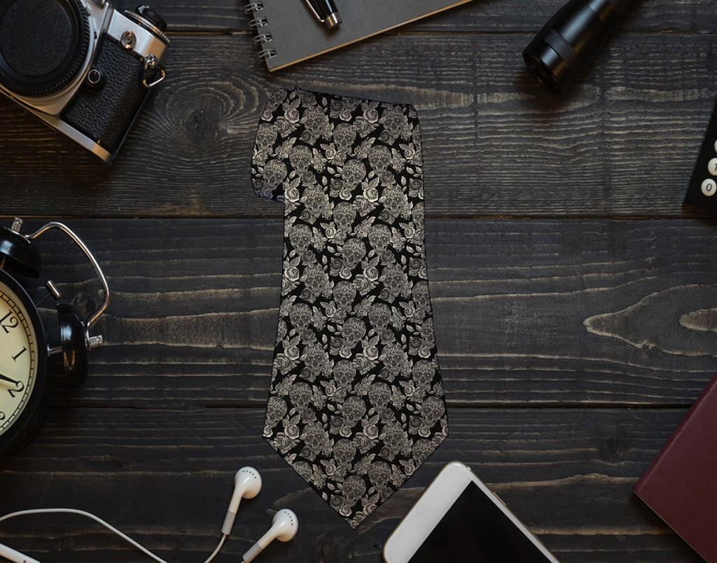 Skulls and Roses Neck Tie