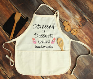 Stressed is Dessert Spelled Backwards Personalized Apron - Potter's Printing