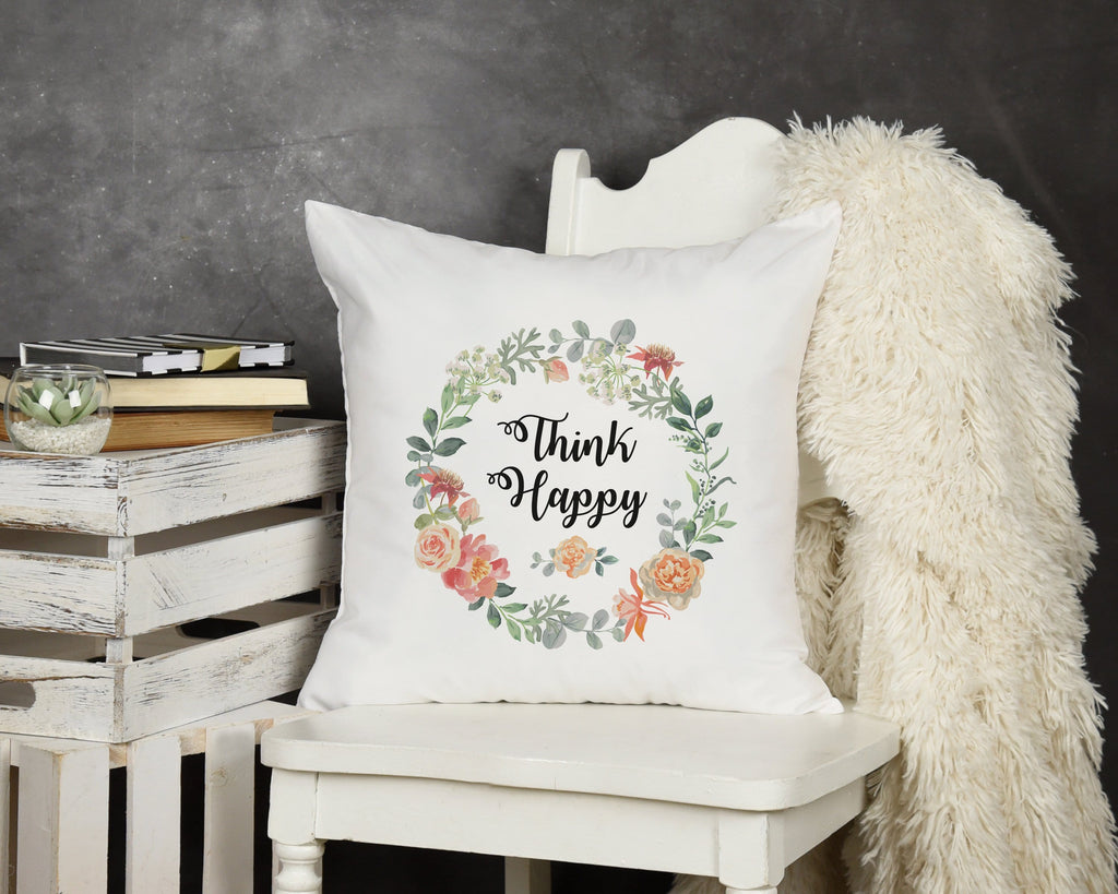 Think Happy Throw Pillow - Potter's Printing