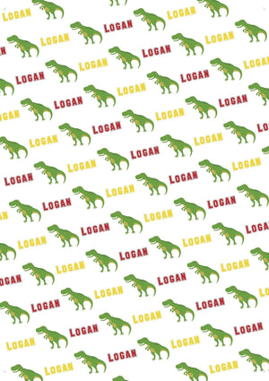 T-Rex Personalized Gift Wrap - Potter's Printing