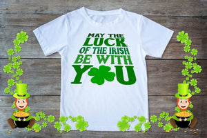 Youth Graphic TEE St. Patrick's Day May The Luck Be With You - Potter's Printing