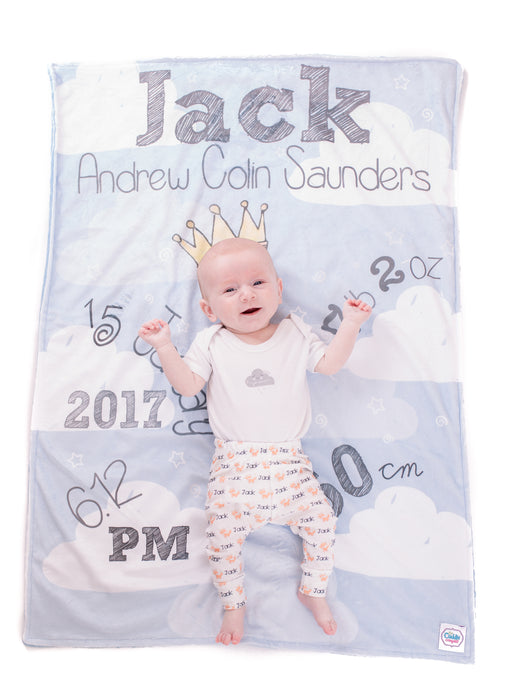 Crown & Clouds Personalised Printed Blanket