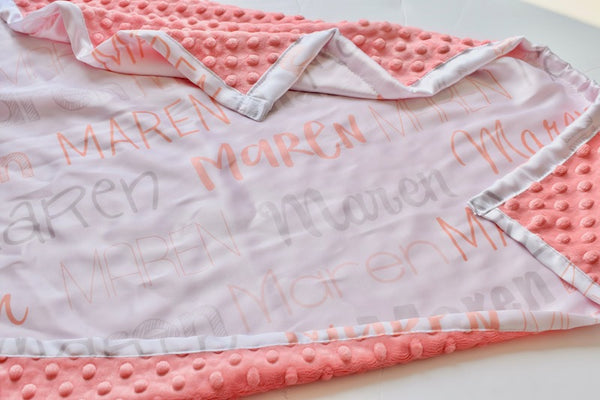 Coral Satin Personalised Blanket