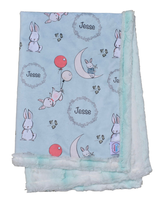 Little Bunny Personalised Cot Blanket - Topaz