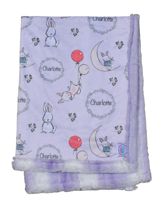 Little Bunny Personalised Cot Blanket - Lilac