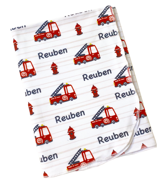 Personalised Fire Truck Swaddle Blanket