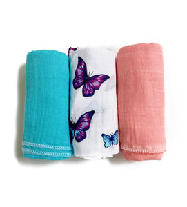 Set of 3 Muslin ~ Butterfly