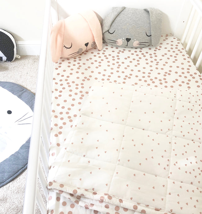 Rose Gold Metallic Cot Bedding Set
