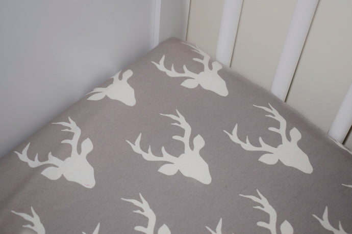 Grey Stag Cotbed Sheet