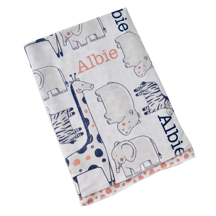 Personalised Zoo Swaddle Blanket