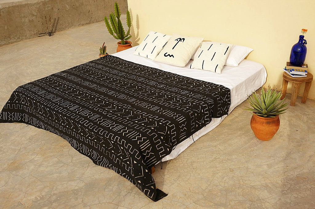 Black Hand Painted Bogolan Mudcloth Blanket