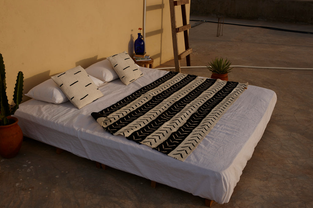 Black and White Hand Printed Mud Cloth Throw