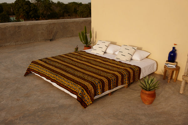 Brown Multi Patterned Bogolan Mudcloth Blanket