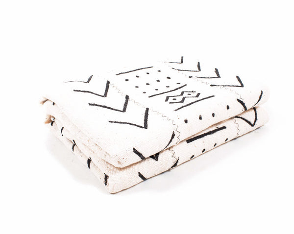 White Hand Printed Mud Cloth Throw