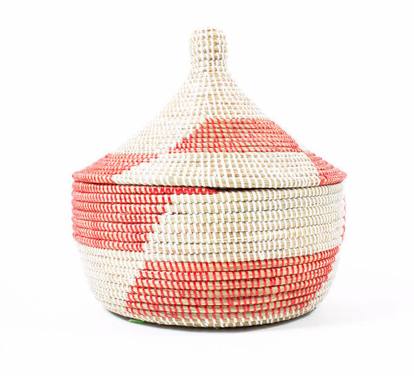 Red and White Hand Woven Basket