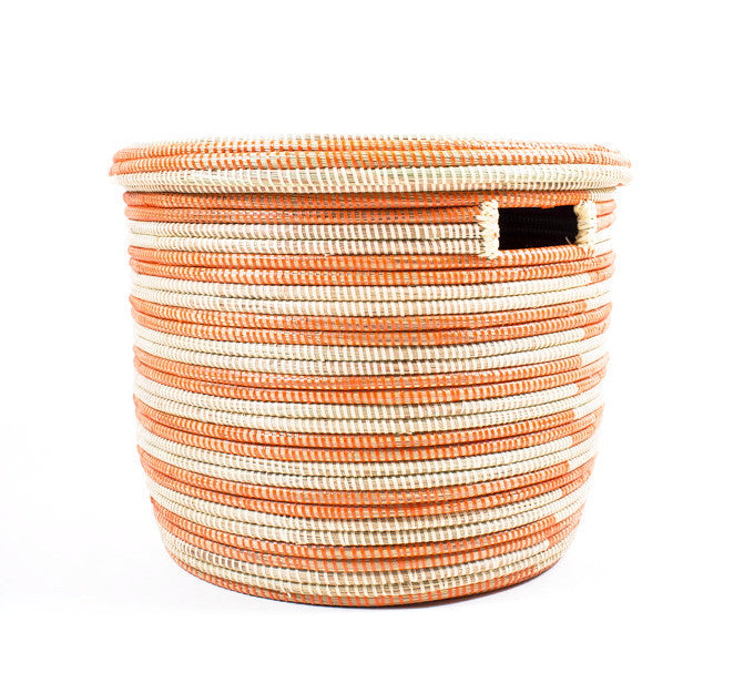 Orange and Cream Handwoven Basket