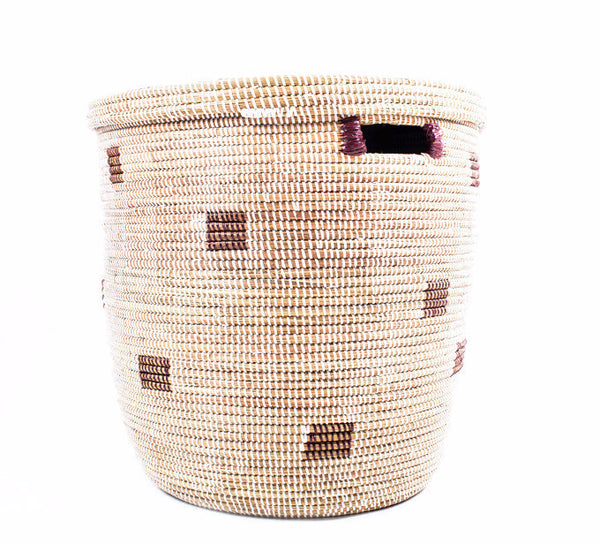 White & Brown Handwoven Storage Basket