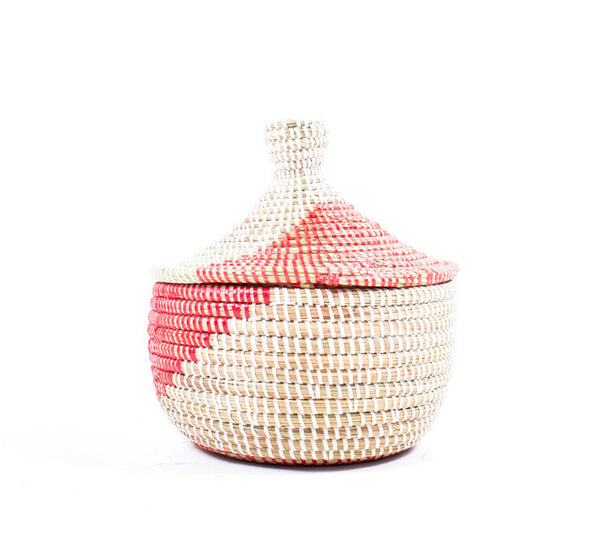 Small Red and White Handwoven Basket
