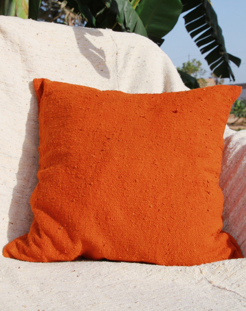 Organic Burnt Orange Square Cushion