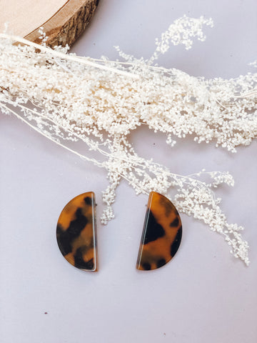 Half Moon Tortoise Earrings