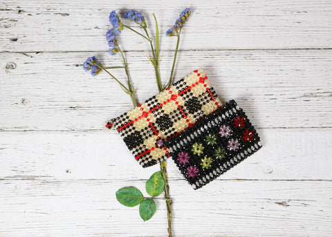 Plaid Crystal Clutch