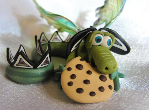 Cookie Monster Dragon - Elemental Dragons OOAK