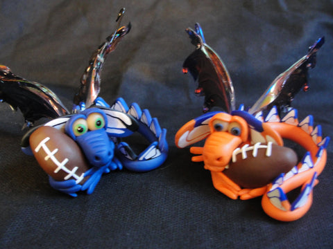 Denver Bronco Dragon - OOAK ELEMENTAL DRAGONS