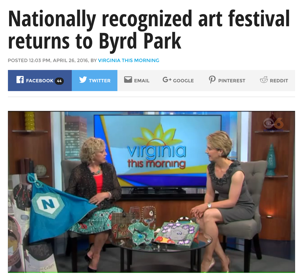 Creative Capes Featured in Art in the Park Segment on Virginia This Morning, CBS 6