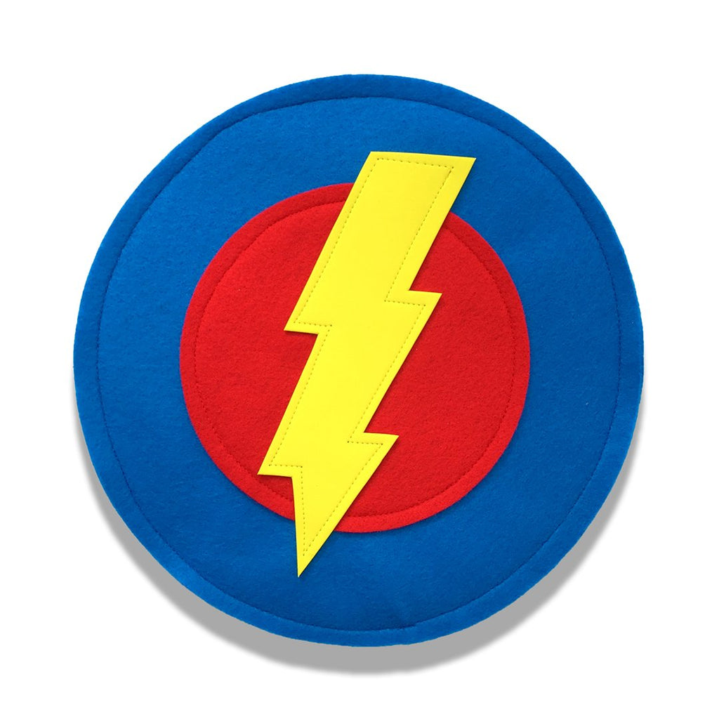 Kids Superhero Shield - Yellow Bolt/Red/Blue - Creative Capes