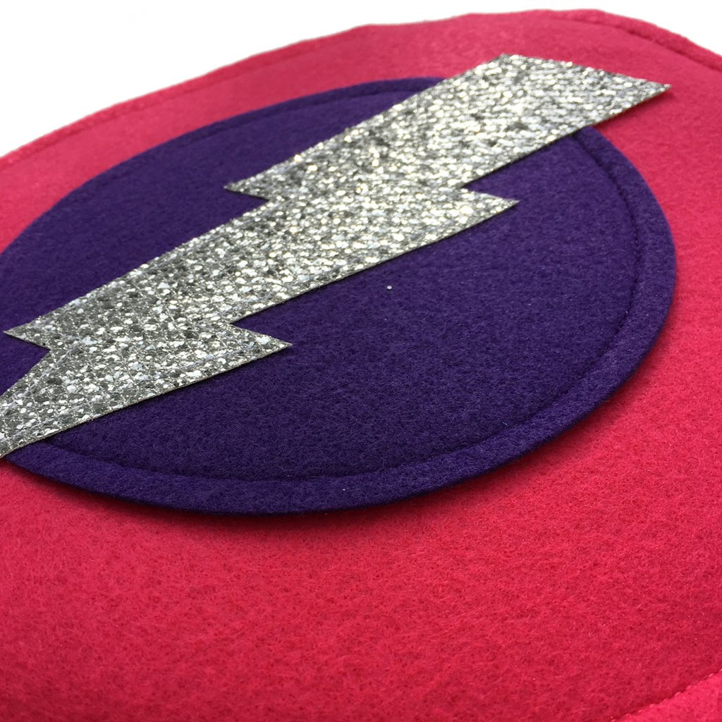 Kids Superhero Shield - Silver Bolt/Purple/Pink - Creative Capes