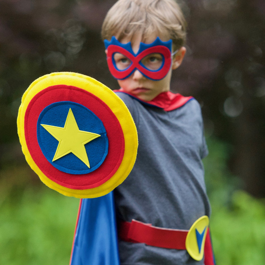 Kids Superhero Shield Blue Red Yellow Creative Capes