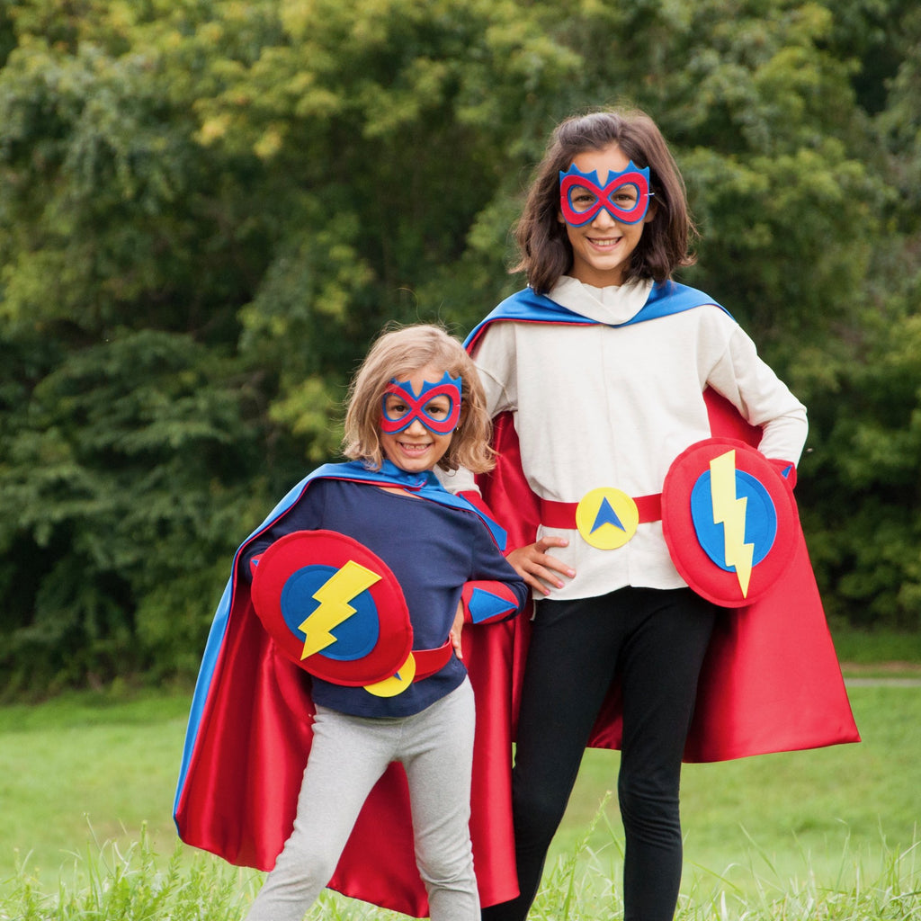 Kids Superhero Shield - Yellow Bolt/Blue/Red - Creative Capes