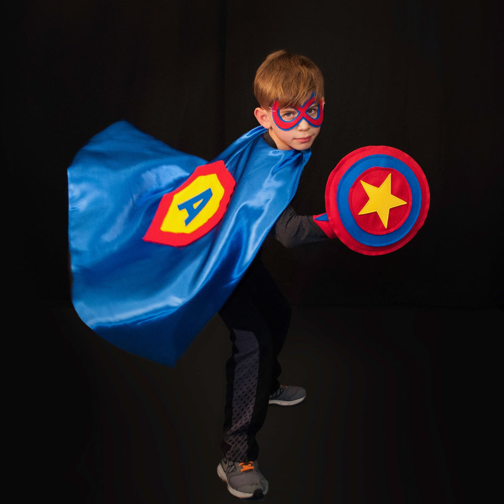 Kids Superhero Shield - Red/Blue/Red/Yellow Star - Creative Capes