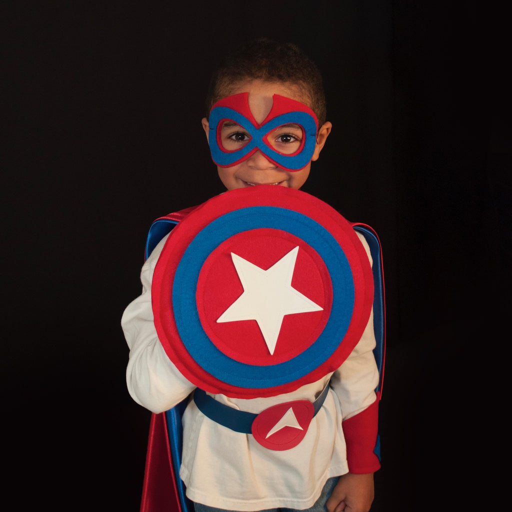 Kids Superhero Shield - Red/Blue/Red/White Star - Creative Capes